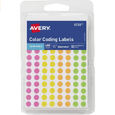 Image For AVERY COLOR CODING LABELS MINI NEONS 480PK