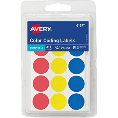 Image For AVERY COLOR CODING LABELS PRIMARY COLORS 315PK