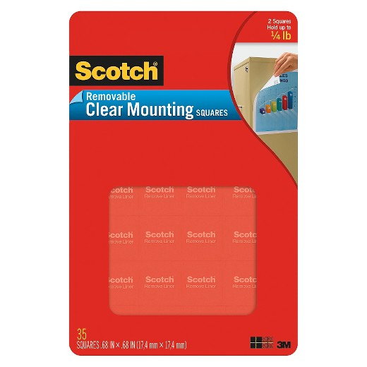 Image For SCOTCH CLEAR REMOVABLE MOUNTING SQUARES
