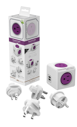 Image For Allocacoc PowerCube Travel Power Adapter 5 Outlet