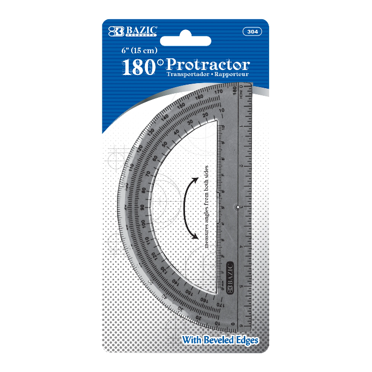 "Image For BAZIC PROTRACTOR 6"" SEMICIRCULAR"