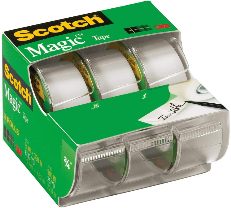 "Image For SCOTCH MAGIC TAPE 3/4"" 3PK + BONUS WALL-SAFE TAPE ROLL"