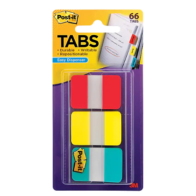 "Image For POST-IT 1"" PRIMARY COLOR TABS W/ DISPENSER 3PK"