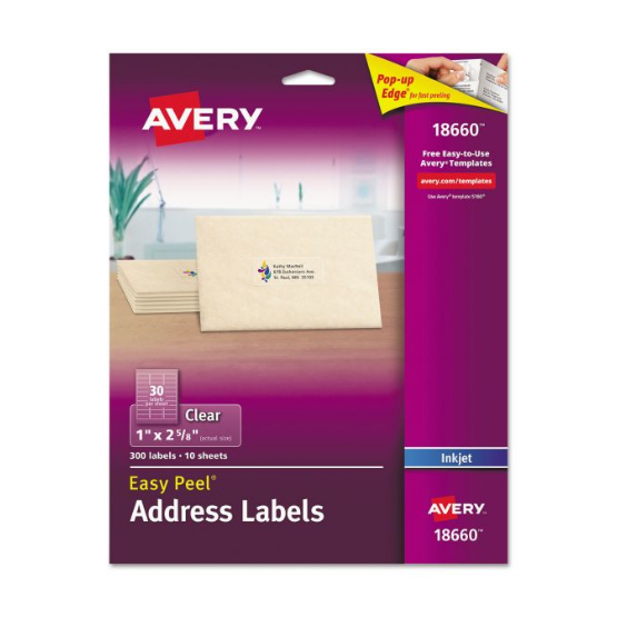 "Cover Image For AVERY ADDRESS LABELS MATTE CLEAR  1"" X 2 5/8"""
