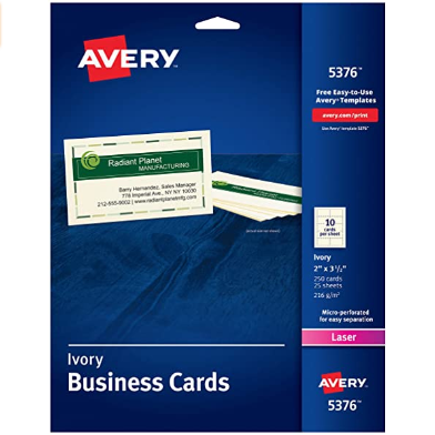 Image For AVERY BUSINESS CARDS FOR LASER PRINTERS IVORY