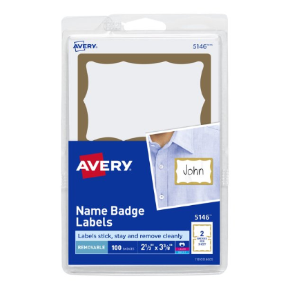 Cover Image For AVERY NAME BADGE LABELS GOLD 100PK
