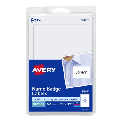 Image For AVERY NAME BADGE LABELS WHITE 100PK