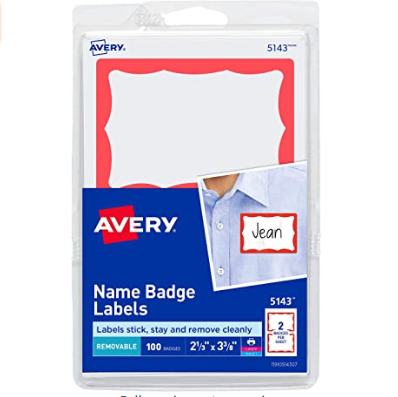 Image For AVERY NAME BADGE LABELS RED 100PK