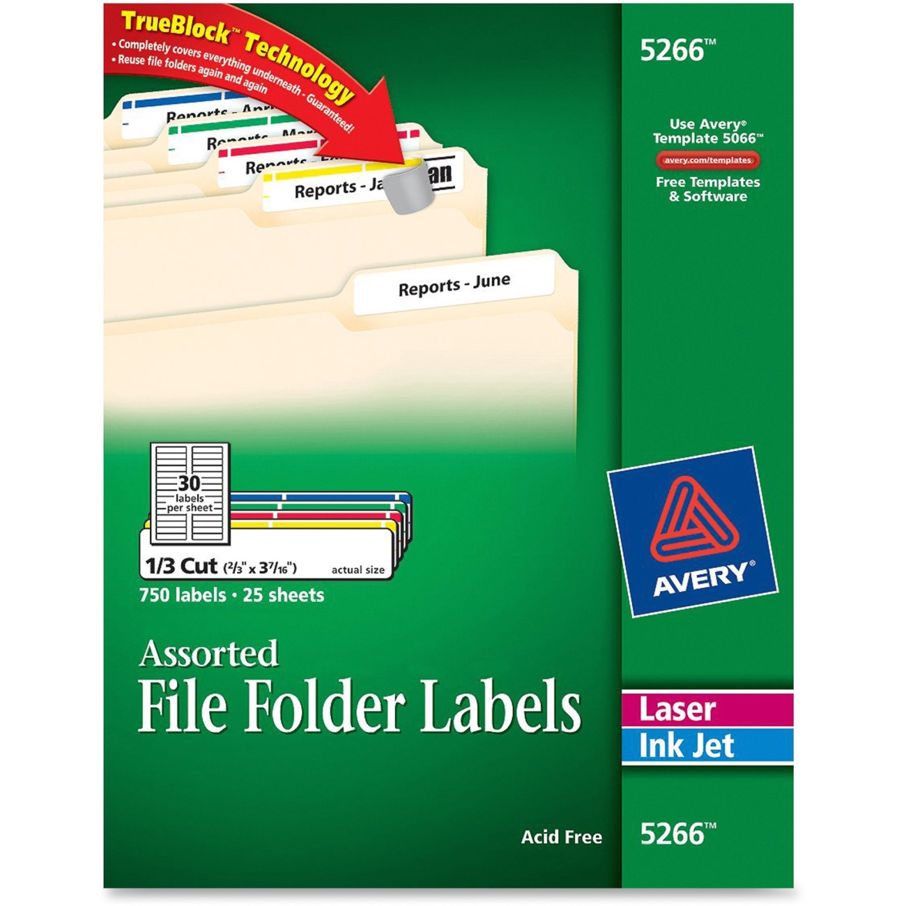 Image For AVERY FILE FOLDER LABELS ASSORTED COLORS 750PK